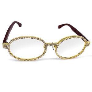 Men's Lab Diamond Gold Wood Glasses